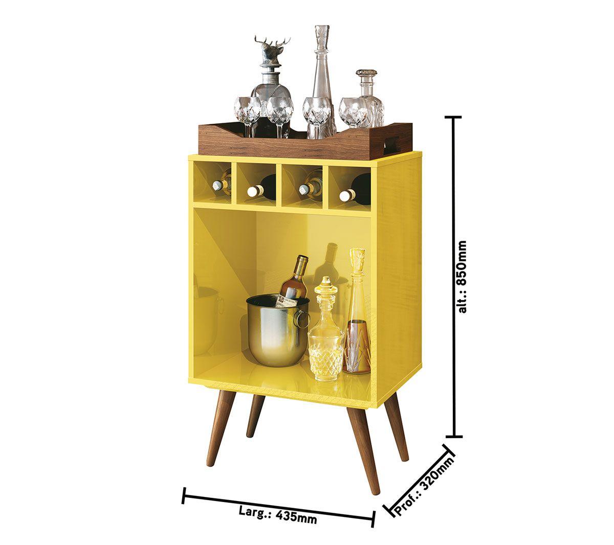 Aparador Barzinho Retrô com Adega Pub Amarelo - EDN Móveis