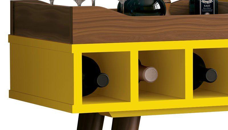 Aparador com Bandeja Linus Amarelo - EDN Móveis