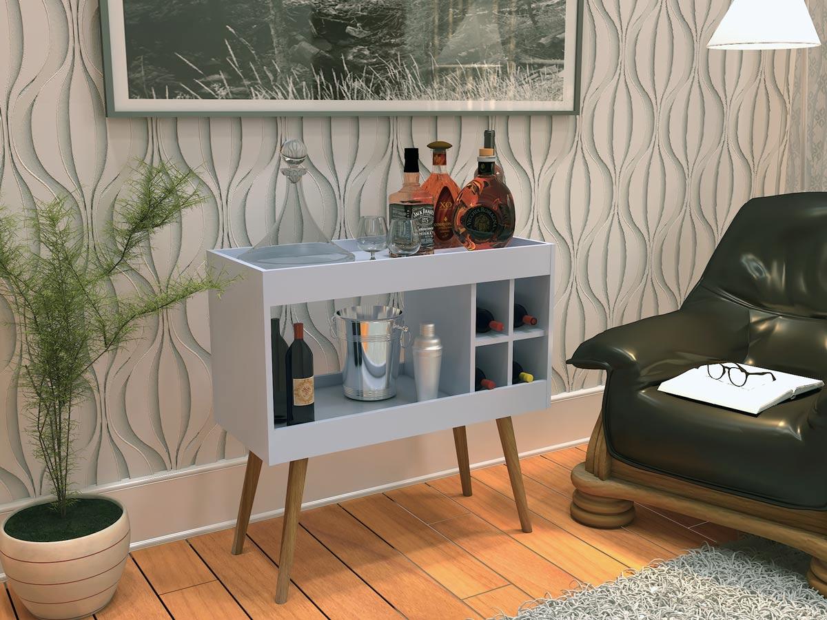 Aparador de Sala Bar Retrô com Adega Siena Branco - MóveisAqui