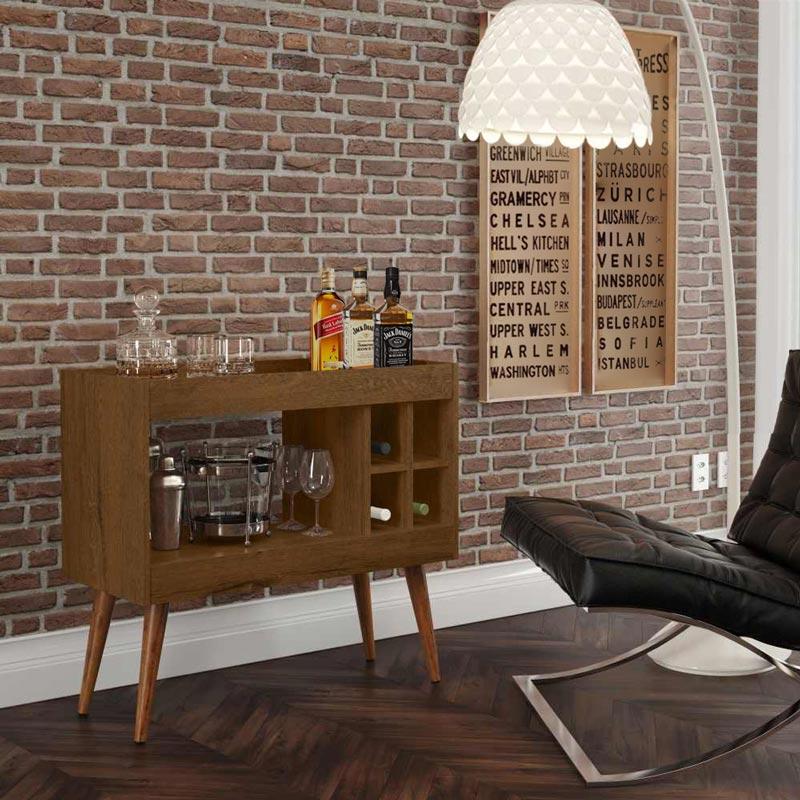 Aparador de Sala Bar Retrô com Adega Siena Ferrara - MóveisAqui