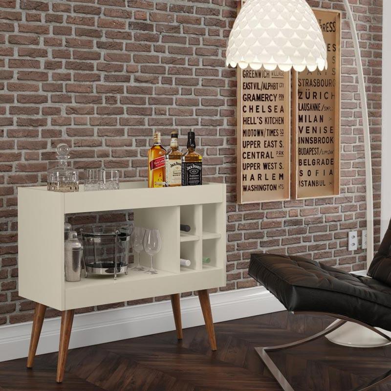 Aparador de Sala Bar Retrô com Adega Siena Off White - MóveisAqui