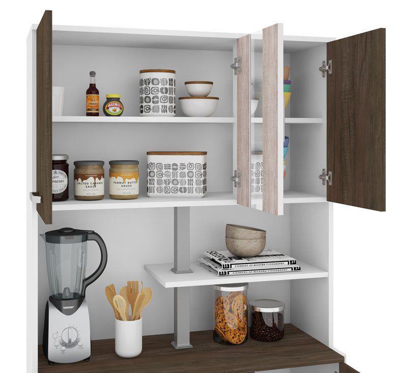 Armário de Cozinha Atenas Plus 06 Portas Branco com Carvalho e Elmo - Madine