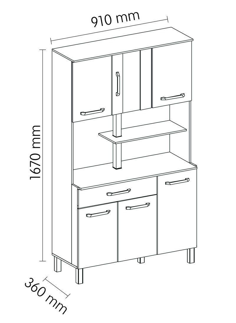 Armário de Cozinha Atenas Plus 06 Portas Branco com Elmo e Montana - Madine
