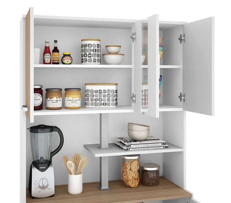 Armário de Cozinha Atenas Plus 06 Portas Branco com Montana - Madine