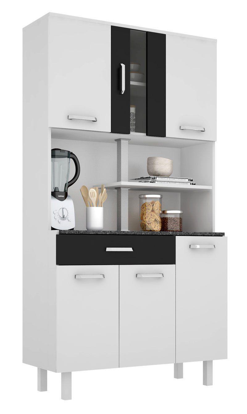 Armário de Cozinha Atenas Plus 06 Portas Branco com Preto - Madine