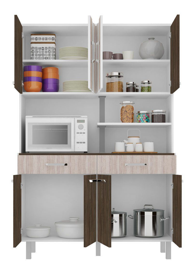Armário de Cozinha Atenas Plus 08 Portas Branco com Carvalho e Elmo - Madine