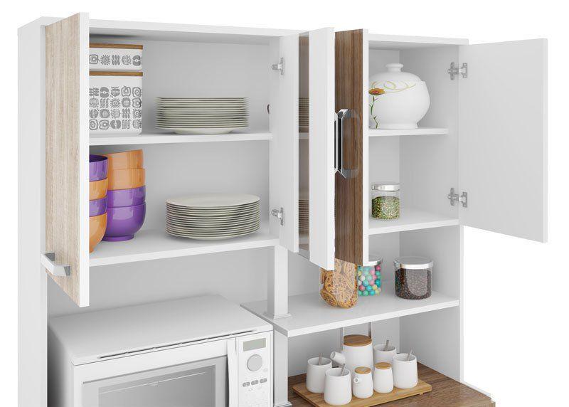 Armário de Cozinha Atenas Plus 08 Portas Branco com Elmo e Montana - Madine