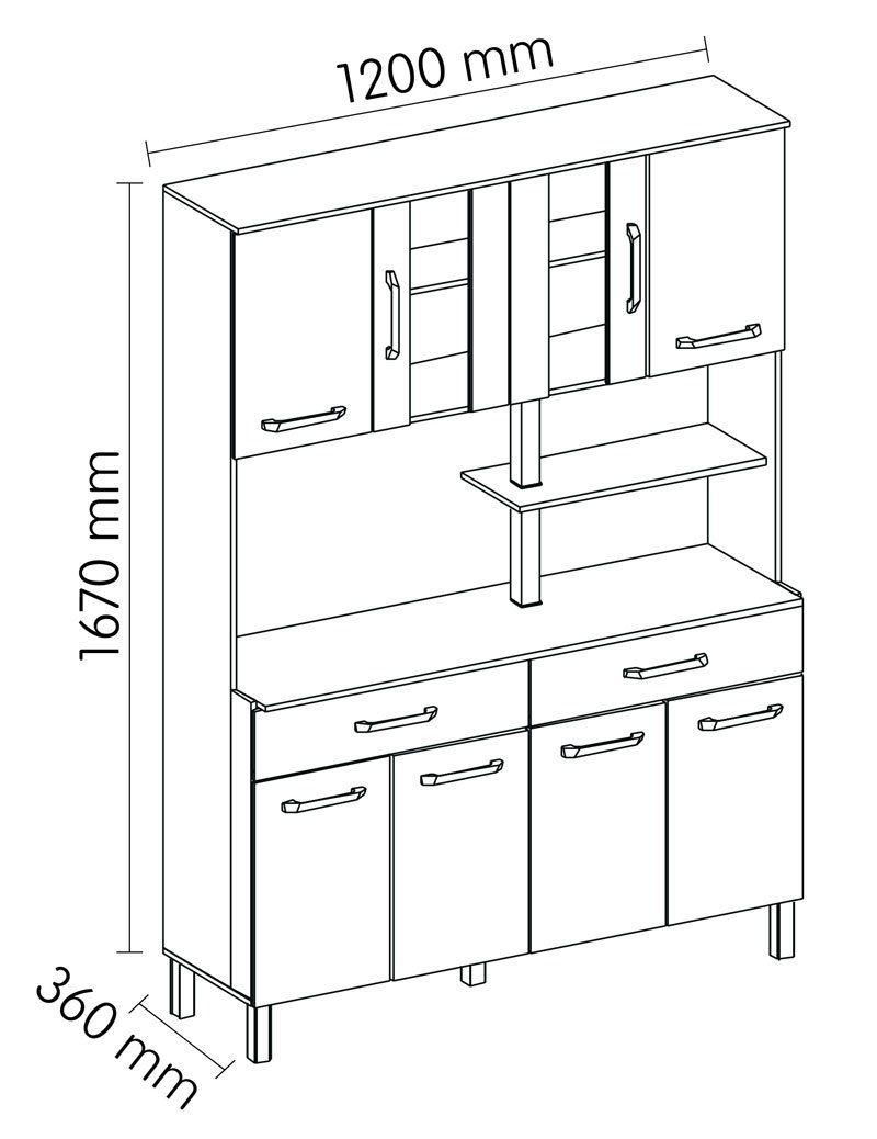 Armário de Cozinha Atenas Plus 08 Portas Branco com Montana - Madine