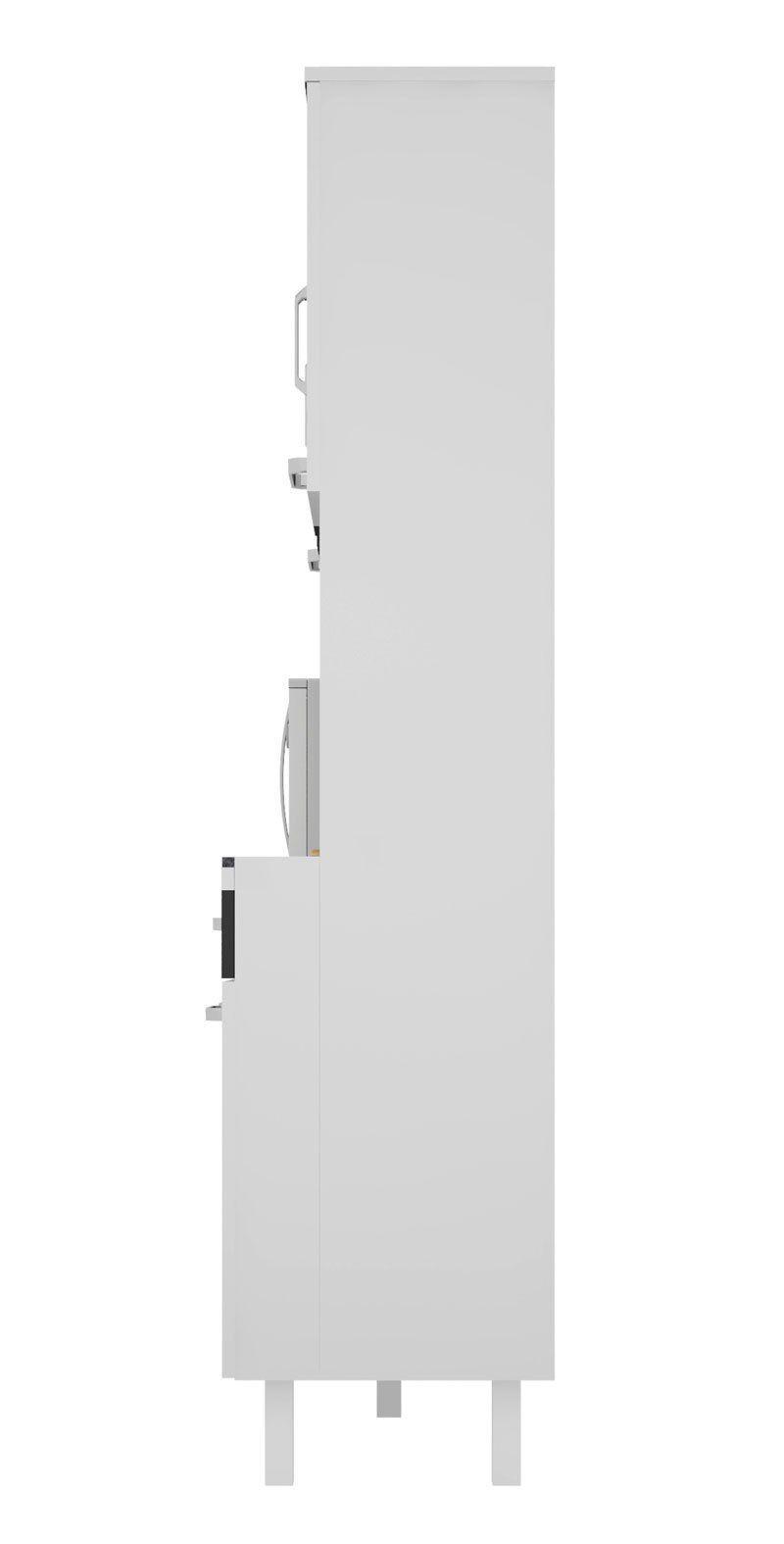 Armário de Cozinha Atenas Plus 08 Portas Branco com Preto - Madine