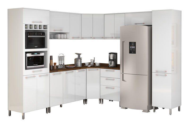 Armário de Cozinha Completo Ravena Branco - Vitamov