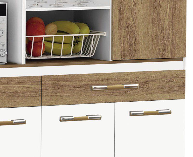Armário De Cozinha Completo Marisa 1,70m Branco Brilho com Canelato - Trinobél Móveis