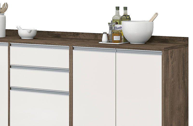 Armário de Cozinha Completo Turquesa Castanho com Off White - Vitamov
