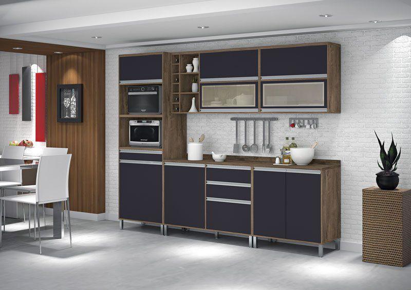 Armário de Cozinha Completo Turquesa com Porta de Vidro Castanho com Grafite - Vitamov