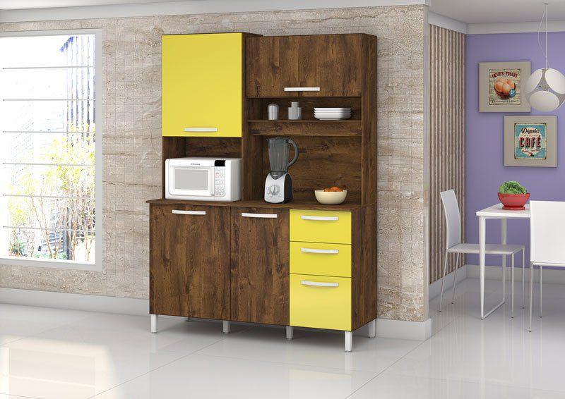 Armário de Cozinha Diamante 4 Portas Malbec com Amarelo - Vitamov