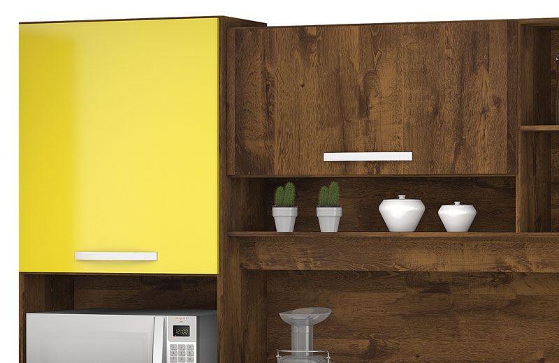 Armário de Cozinha Diamante 5 Portas Malbec com Amarelo - Vitamov