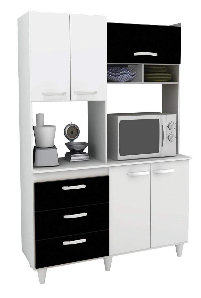 Armário de Cozinha Galax Branco com Preto - Móveis Primus  - MoveisAqui - Loja de móveis online!