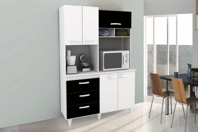 Armário de Cozinha Galax Branco com Preto - Móveis Primus