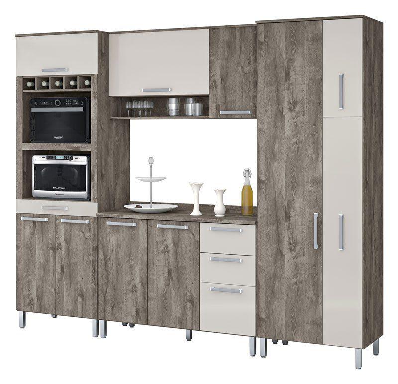 Armário de Cozinha Ravena 2.6 Amêndoa com Camurça - Vitamov