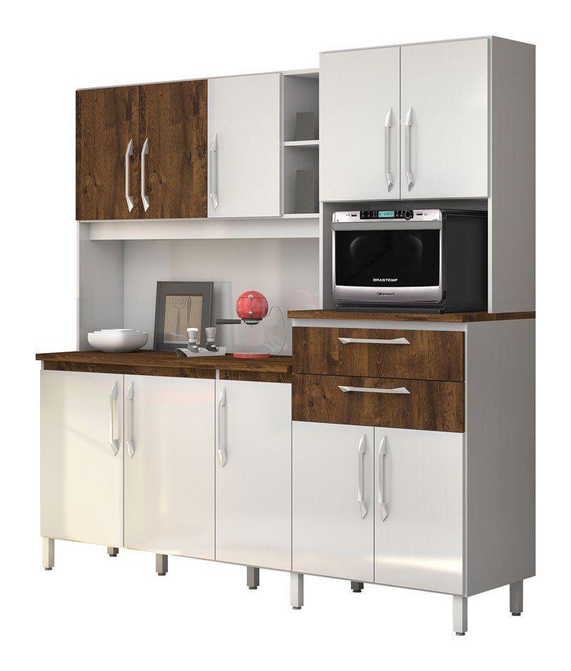 Armário de Cozinha Rubi 10 Portas Branco com Malbec - Vitamov