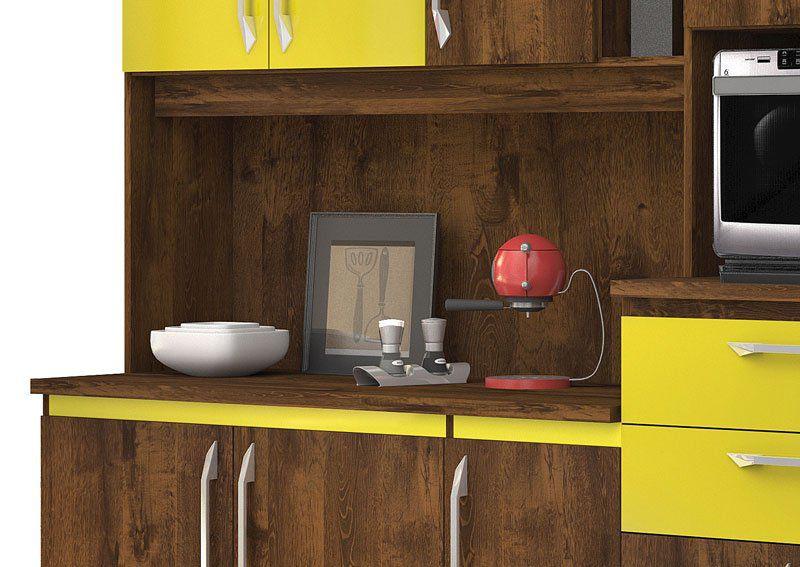 Armário de Cozinha Rubi 10 Portas Malbec com Amarelo - Vitamov