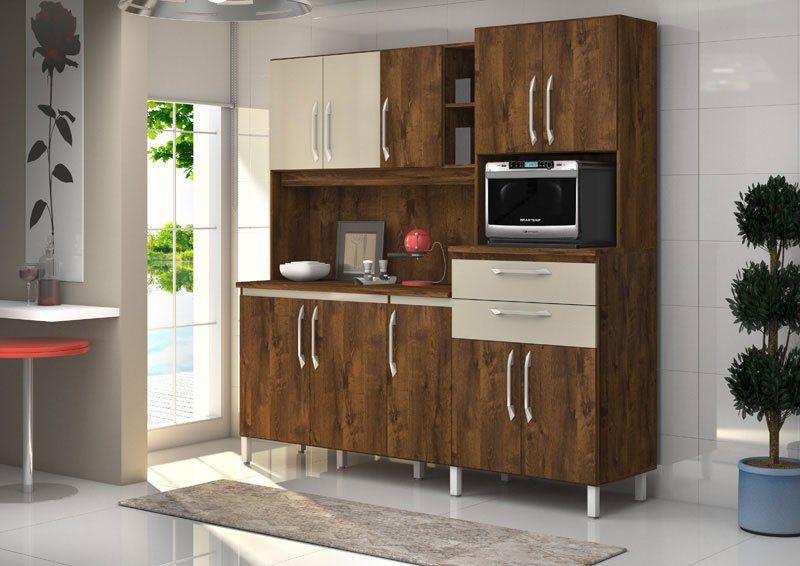 Armário de Cozinha Rubi 10 Portas Malbec com Camurça - Vitamov