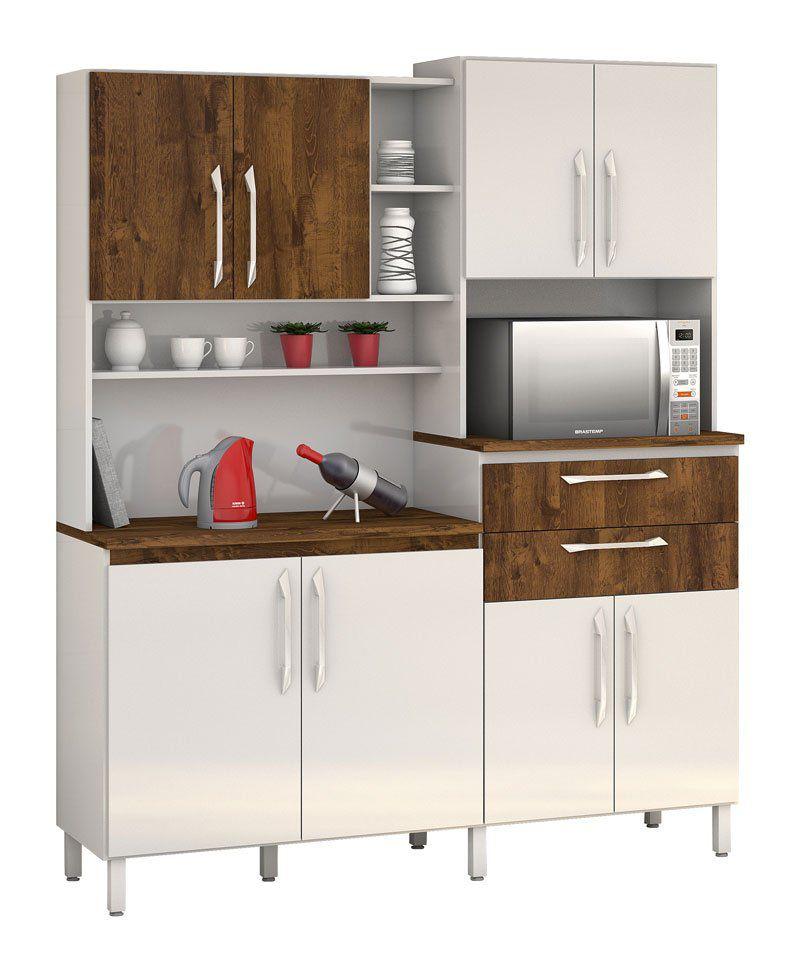 Armário de Cozinha Rubi 8 Portas Branco com Malbec - Vitamov