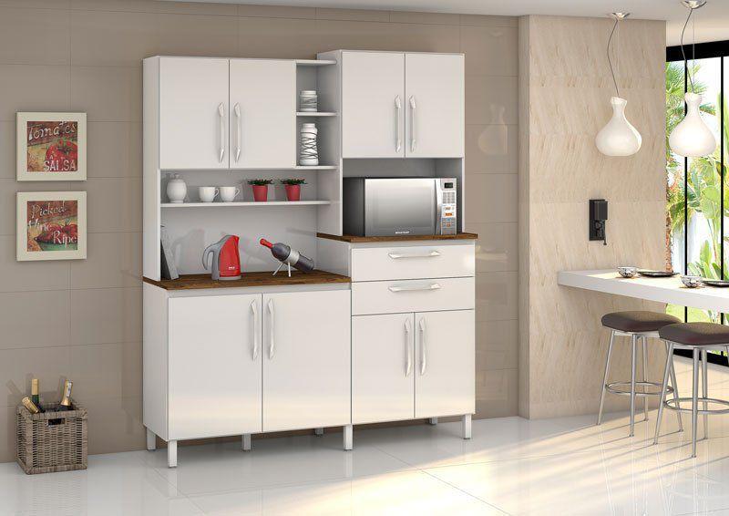 Armário de Cozinha Rubi 8 Portas Branco - Vitamov