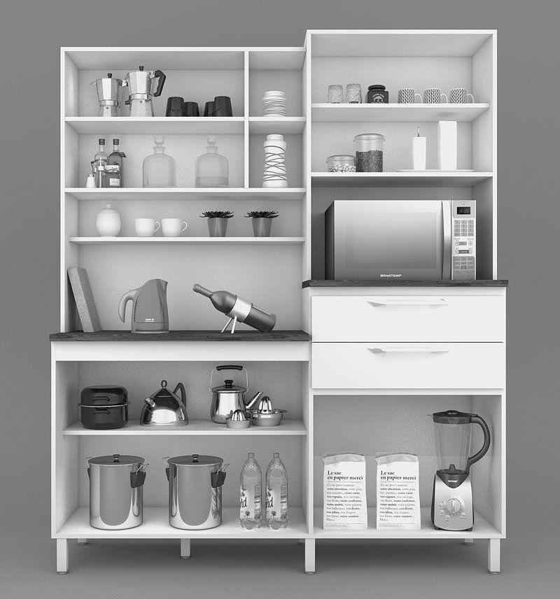 Armário de Cozinha Rubi 8 Portas Malbec com Amarelo - Vitamov