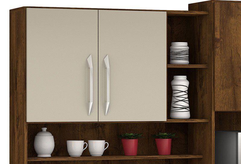 Armário de Cozinha Rubi 8 Portas Malbec com Camurça - Vitamov