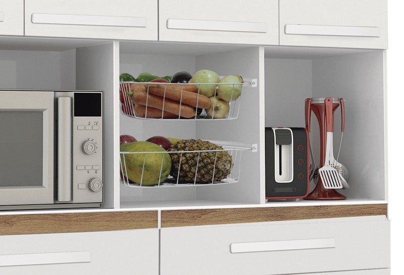 Armário de Cozinha Samanta 1,36m Branco Brilho com Canelato - Trinobél Móveis