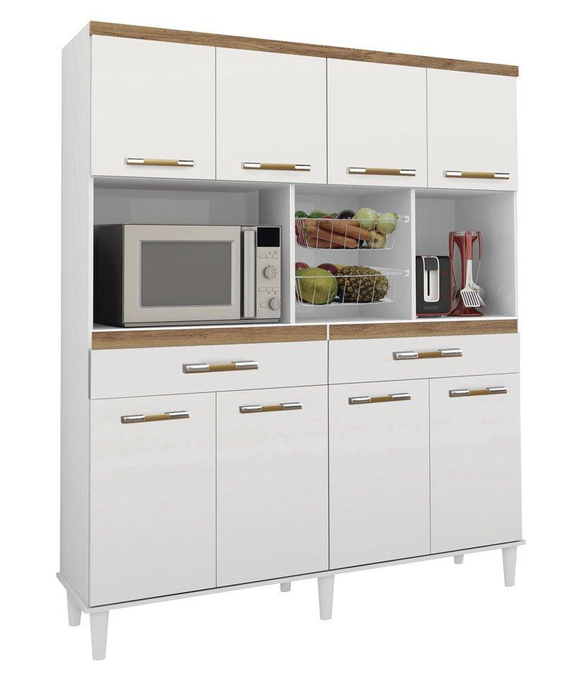 Armario de Cozinha Samanta 1,36m Branco Brilho com Canelato - Trinobél Móveis