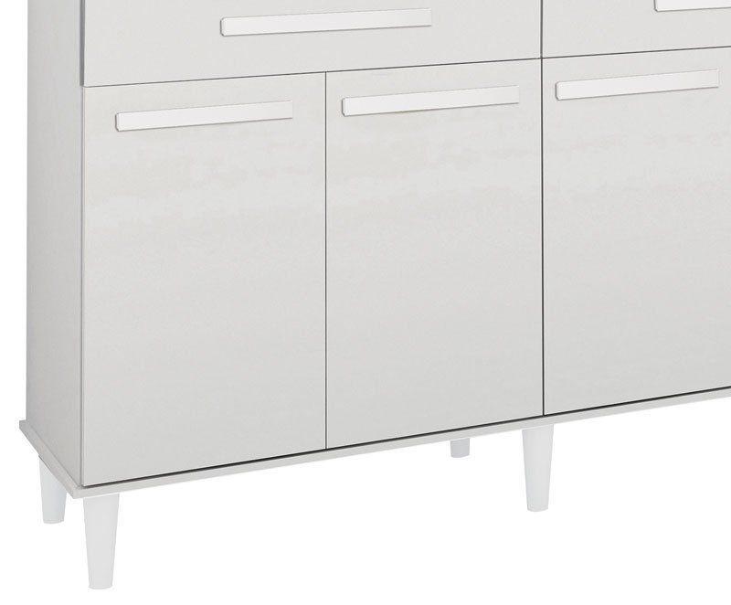 Armário de Cozinha Samanta 1,36m Branco Brilho - Trinobél Móveis