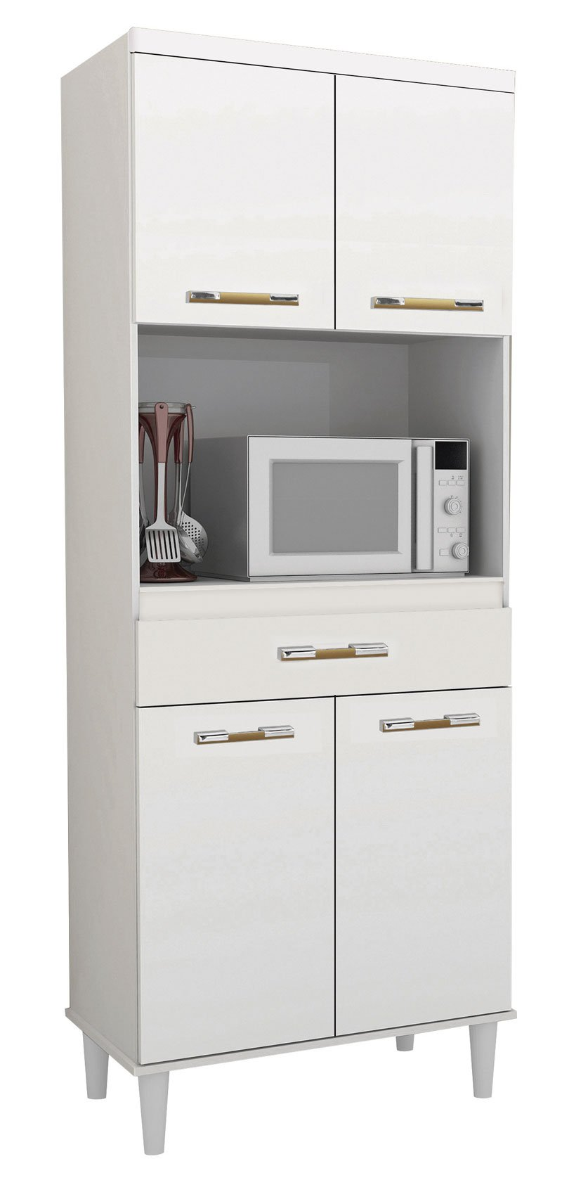 Armário de Cozinha Vilage 0,70m Branco Brilho - Trinobél Móveis