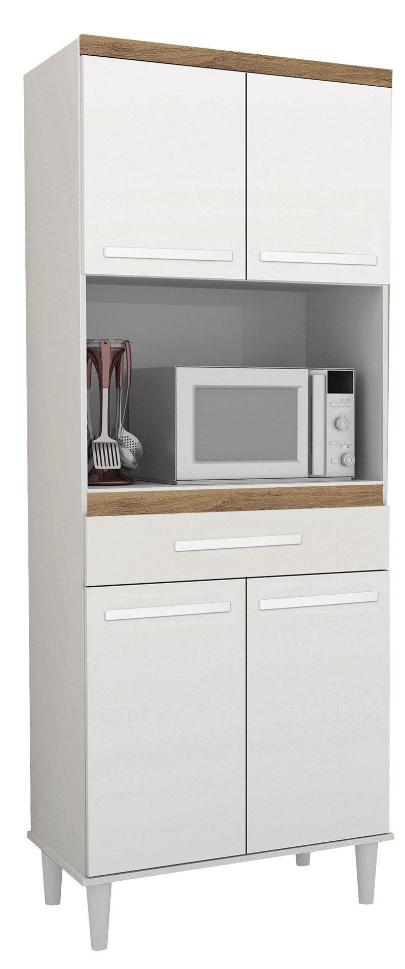 Armário de Cozinha Vilage 0,70m Branco com Canelato - Trinobél Móveis