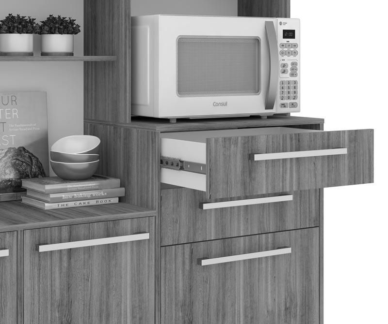 Armário de Cozinha Vitória Castanho Argel com Castanho Argel e Branco - Madine