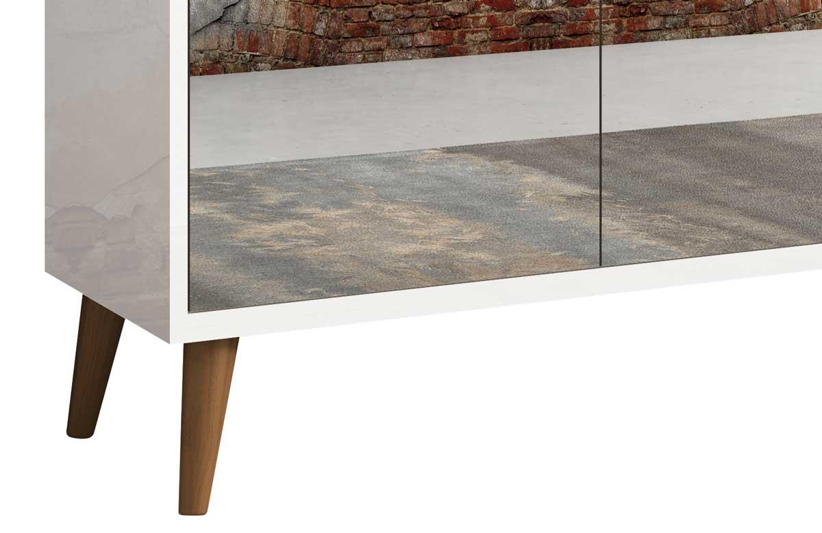 Balcao Buffet Retrô com Espelho Delta 3 Portas Branco Gloss - MoveisAqui