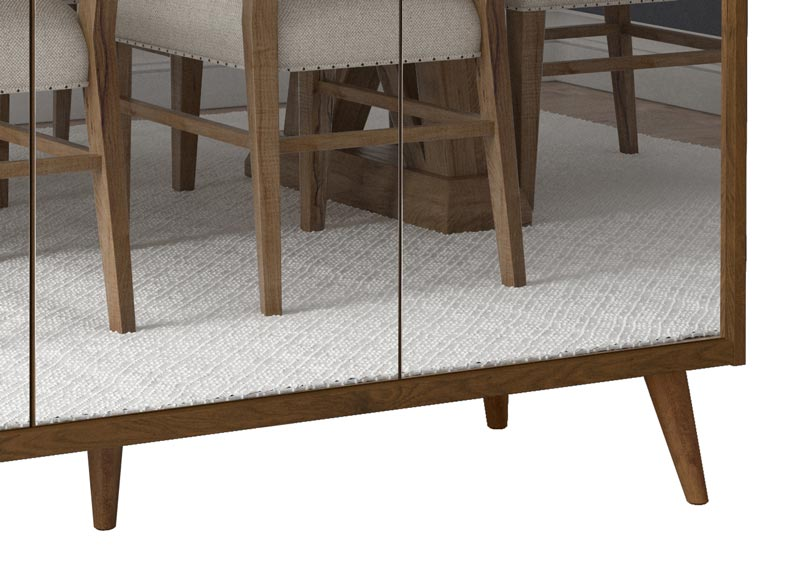Balcão Buffet Retrô com Espelho Delta 3 Portas Malbec - MoveisAqui