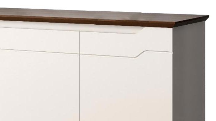 Balcão Buffet Retrô Horizon Off White com Castanho - Imaza Móveis