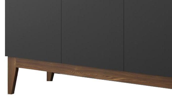 Balcão Buffet Retrô Horizon Preto com Castanho - Imaza Móveis