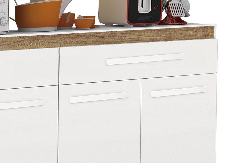 Balcão de Cozinha Madri Branco Brilho com Canelato - Trinobél Móveis