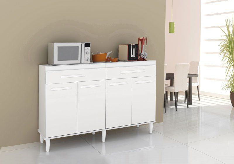 Balcão de Cozinha Madri Branco Brilho - Trinobél Móveis