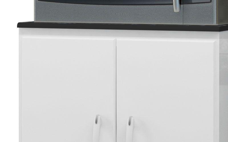 Balcão para Micro-ondas Branco com Marmore - EJ Móveis