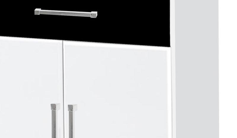 Balcão para Micro-ondas Ipê Branco com Preto - Móveis Primus