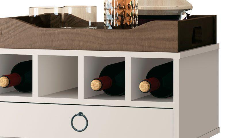 Barzinho Retrô com Adega Martini Off White - EDN Móveis