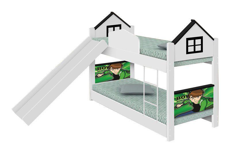 Beliche infantil Casa Herói com Escorregador - Divaloto Móveis