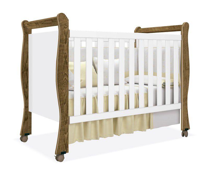 Berço Americano Baby Branco Acetinado com Castanho - Imaza Móveis
