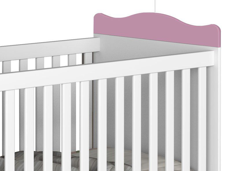 Berço Mini Cama Teddy Branco com Rosa - JeA Móveis