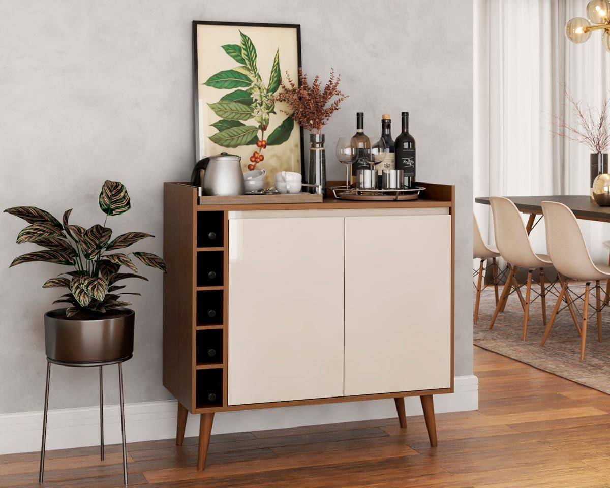 Buffet Aparador com Adega Retrô Wine 2 Portas Malbec com Off White - MoveisAqui