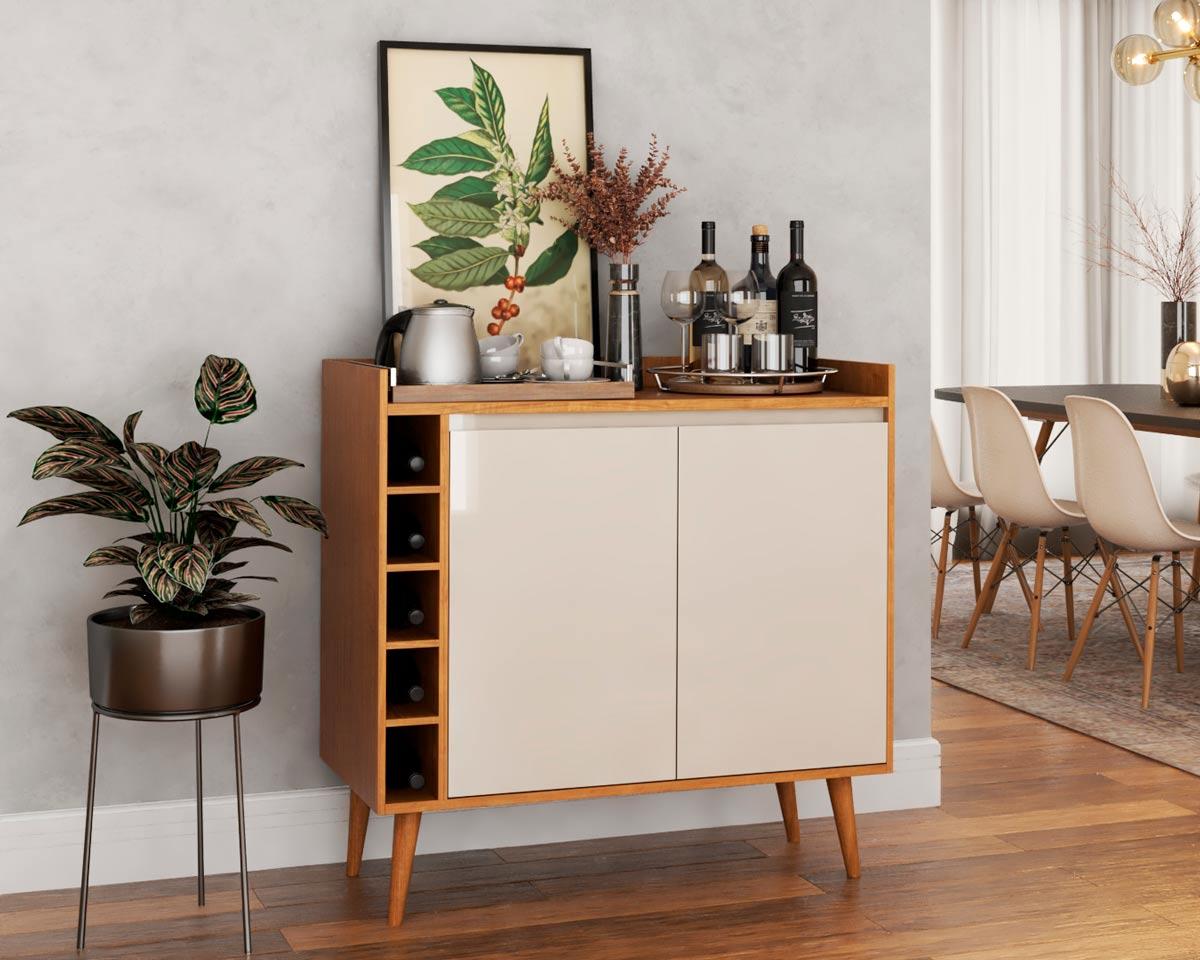 Buffet Aparador com Adega Retrô Wine 2 Portas Nature com Off White - MoveisAqui