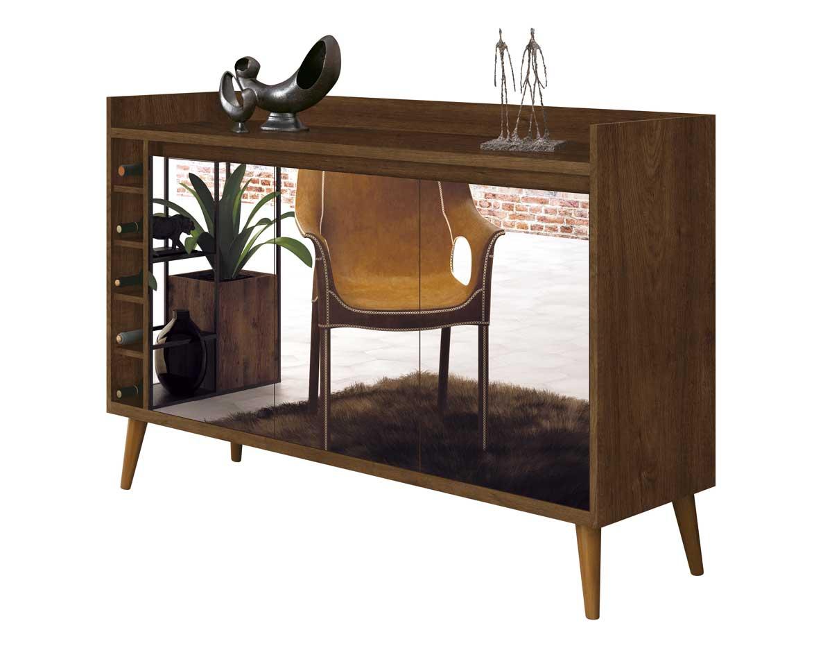 Buffet Aparador com Adega Retrô Wine com Espelho Malbec - MoveisAqui